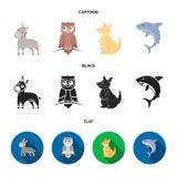 Burro, búho, canguro, tiburón Iconos determinados de la colección del animal en la historieta, negro, ejemplo plano de la acción  stock de ilustración