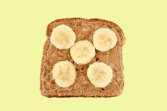 Burro di arachide e pane tostato della banana fotografia stock libera da diritti