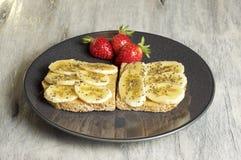 Burro di arachide e panino della banana fotografia stock