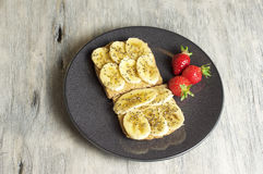 Burro di arachide e panino della banana Immagini Stock