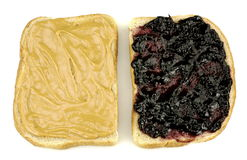 Burro di arachide e panino della gelatina Fotografia Stock