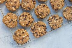 Burro di arachidi del glutine Flourless, farina d'avena e biscotti di pepita di cioccolato liberi su pergamena, vista superiore,  Immagine Stock
