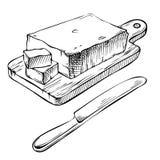 Burro disegnato a mano dell'inchiostro Fetta fresca di burro sul vasto di legno Fotografia Stock Libera da Diritti