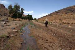 Burro marroquí abajo The Creek del montar a caballo del hombre Imágenes de archivo libres de regalías