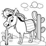 Burro mexicano en el desierto Página blanco y negro del libro de colorear