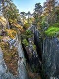 Burrone nel parco nazionale della montagna della Tabella, Polonia fotografia stock