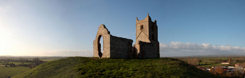 Burrow Mump. Ruined church in Somerset, England. Panoramic shot Royalty Free Stock Photography