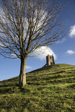 Burrow Mump. Is a prominent, isolated hill in Somerset, England - close to Glastonbury. The hill is topped by an ancient church royalty free stock image
