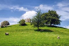 Burrow Mump. The ruins of St Michaels Church atop Burrow Mump on a sunny May afternoon. The hill is a historic site overlooking Southlake Moor in the village of stock photography