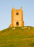 Burrow Mump Somerset. Burrow Mump is a hill and historic site overlooking Southlake Moor in the village of Burrowbridge in Taunton Deane, Somerset, England.  On Royalty Free Stock Image