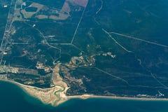 Burrum海岸昆士兰,澳大利亚鸟瞰图  库存图片