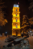 Bursa Clock Tower. In the historic Tophane at night with Cannons (ball Stock Image