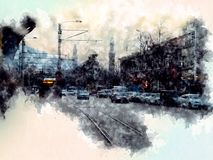 Bursa heykel, turkey , watercolor royalty free illustration