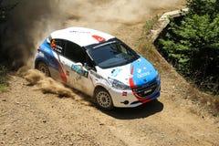 Bursa Rally 2017. BURSA, TURKEY - JULY 22, 2017: Ahmet Burkay drives Peugeot 208 R2 of BC Vision Motorsport Team in Rally Bursa Stock Photography