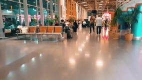 Travelers at Bursa Bus Terminal at night stock footage