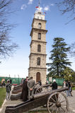 Bursa, Turkey. Historic clock tower in Tophane district of `s 4th largest city in Marmara region, former Ottoman Empire capital before Istanbul royalty free stock photography