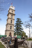 Bursa, Turkey. Historic clock tower in Tophane district of `s 4th largest city in Marmara region, former Ottoman Empire capital before Istanbul stock photography