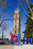 Bursa, Turkey. Historic clock tower in Tophane district of `s 4th largest city in Marmara region, former Ottoman Empire capital before Istanbul royalty free stock photos