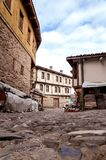 BURSA, TURKEY - JANUARY 26, 2015: a narrow street view of 700 years old Ottoman village. The historical texture of the village has Stock Image