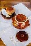 Bursch - Rode soep Royalty-vrije Stock Foto's