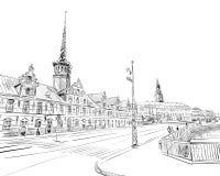 Bursen copenhaghen denmark europa Illustrazione disegnata a mano di vettore royalty illustrazione gratis