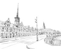 Bursen copenhague denmark l'europe Illustration tirée par la main de vecteur illustration libre de droits