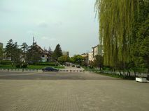 Burshtyn. Ivano-Frankivsk region, Ukraine - 17 April 2018 : General view of the central part of the town Royalty Free Stock Images