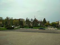 Burshtyn. Ivano-Frankivsk region, Ukraine - 17 April 2018 : General view of the central part of the town Royalty Free Stock Photos