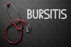 Bursitis Concept on Chalkboard. 3D Illustration. Medical Concept: Black Chalkboard with Handwritten Medical Concept - Bursitis with Red Stethoscope. Top View Stock Photos