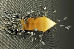Burst through arrow. 3d arrow burst through brick wall Royalty Free Stock Image