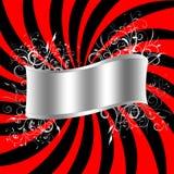 Burst banner. Red and black burst with silver filligree scroll vector illustration