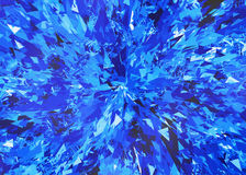 Burst of blue broken particle crystal Royalty Free Stock Photos