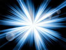 Burst of blue lines. Blue and white lines shining from the center, with some flares, against a black background Royalty Free Stock Photography