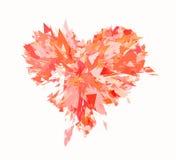 Burst of broken heart on white background Stock Photo