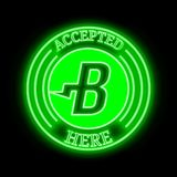 Burst (BURST) accepted here sign. Burst (BURST) green neon cryptocurrency symbol in round frame with text 'Accepted here '. Vector illustration isolated on black royalty free illustration