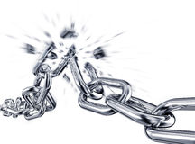 Burst. 3d rendering of a broken chain Royalty Free Stock Photo