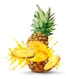 Burst del succo di ananas Fotografia Stock Libera da Diritti
