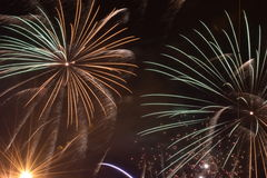 Burst of Fireworks. A long exposure photograph of a fireworks burst Royalty Free Stock Photography