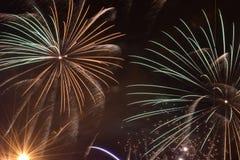Burst of Fireworks. A long exposure photograph of a fireworks burst royalty free stock photography