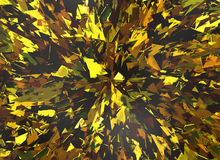 Burst of golden broken particle crystal Stock Image