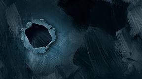 Burst Hole in Wall Graphic abstract background. Graphic illustration of burst hole in wall with textured brush strokes Royalty Free Stock Photos