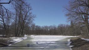The burst ice and ice-holes on the forest lake on the forest lake in spring sunny day.  stock video footage