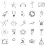 Burst icons set, outline style Royalty Free Stock Photography