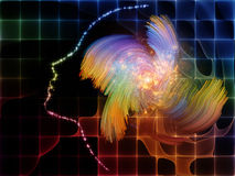 Burst Of Mind. Arrangement of human profiles, lights and fractal textures on the subject of thinking mind Stock Image