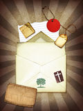 Burst Paper. A vintage collage with paper and tags vector illustration