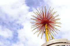 Burst-props-close-up. Prototype of fireworks burst placed at the top of amusement park Royalty Free Stock Images