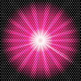Burst rays dark purple background with halftone Royalty Free Stock Image