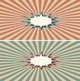 Burst rays vintage comic book explosion color, speech effect Stock Photo