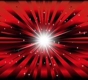 Burst red and black background with ray and star light Stock Image