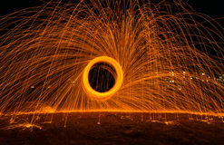 The Burst. Steel Wool Spinning capture on slow shutter Royalty Free Stock Image